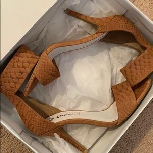"""Jeffrey Campbell """"Inaba"""" Strappy Snakeskin Heels"""
